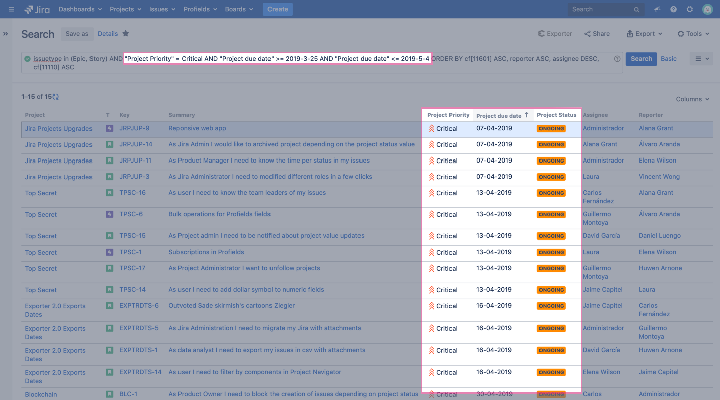 projects field critical JQL search in Jira's app profields