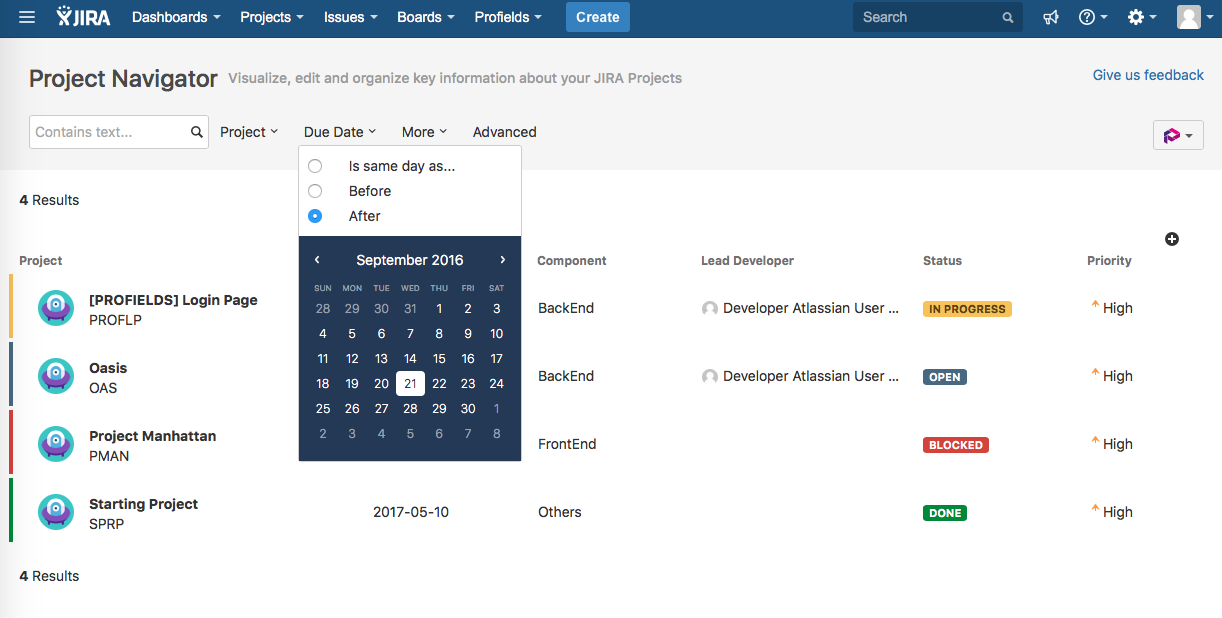 1. Create as many Project Fields as are needed with Profields for Jira