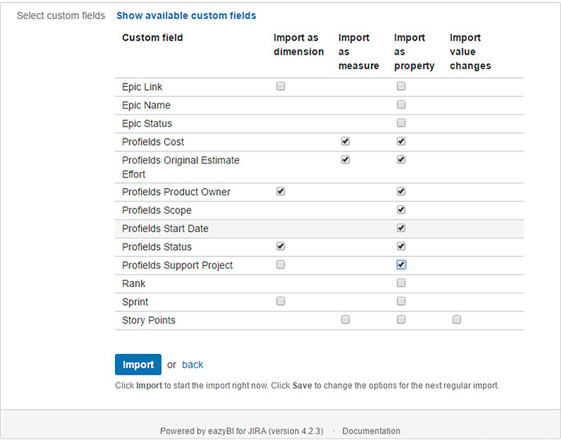 Hoe to select custom details to import from jira projects information to eazyBI custom charts for jira