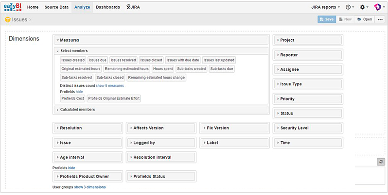 Profields calculate all the project information needed in the measures field in eazyBI for Jira