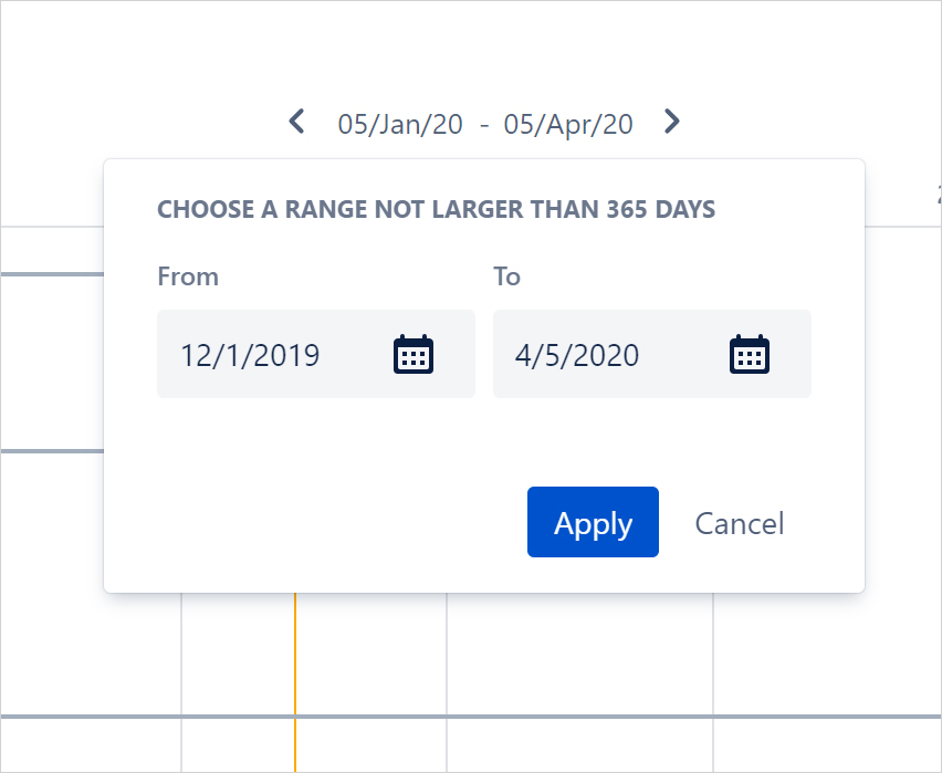 Select a custom date range of the project you need to follow up on_trz