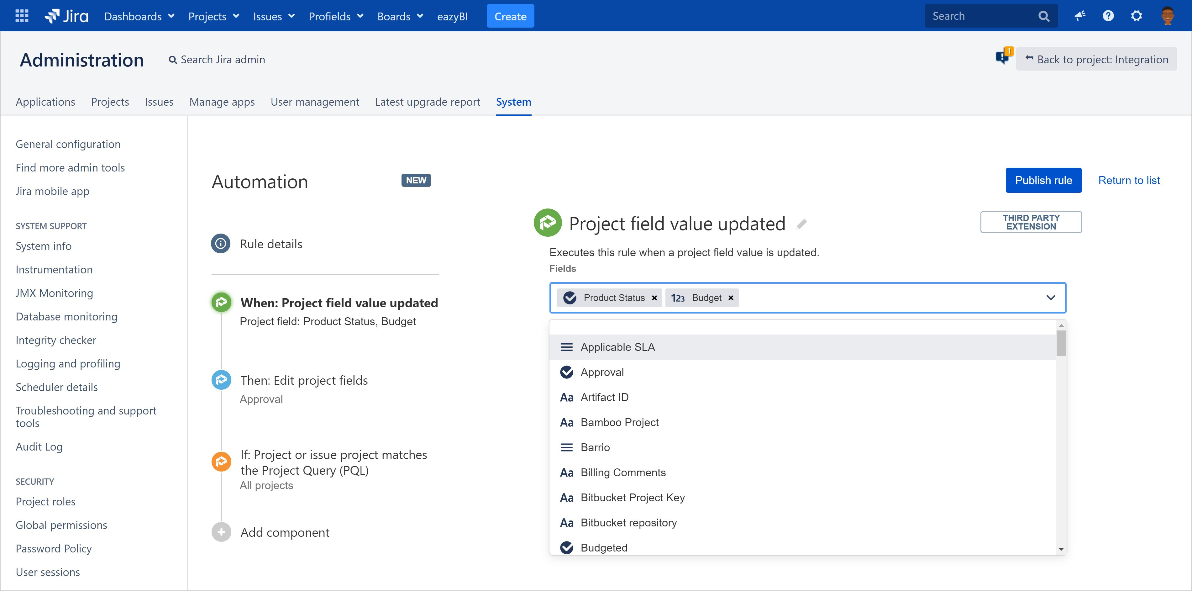 The integration of Automation for Jira and Profields to track projects in Jira represents a  turning point in the automation of tasks directly related to project information_trz_3