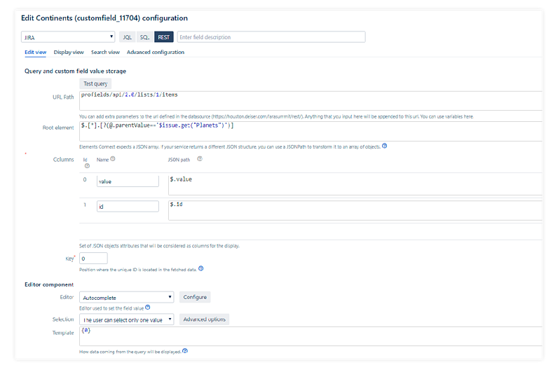 How to read Profields values through the Rest API to populate the options of each custom field