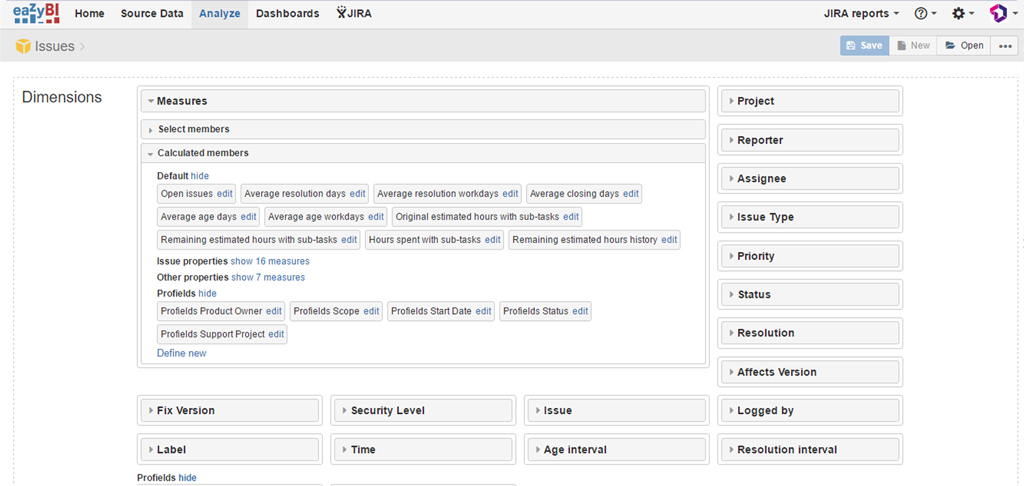 Get into the calculated members field in eazyBI to get all the profields for Jira Projects data