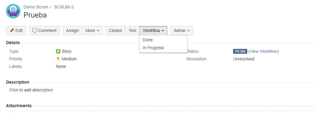How to set a workflow properties and make a transition in progress