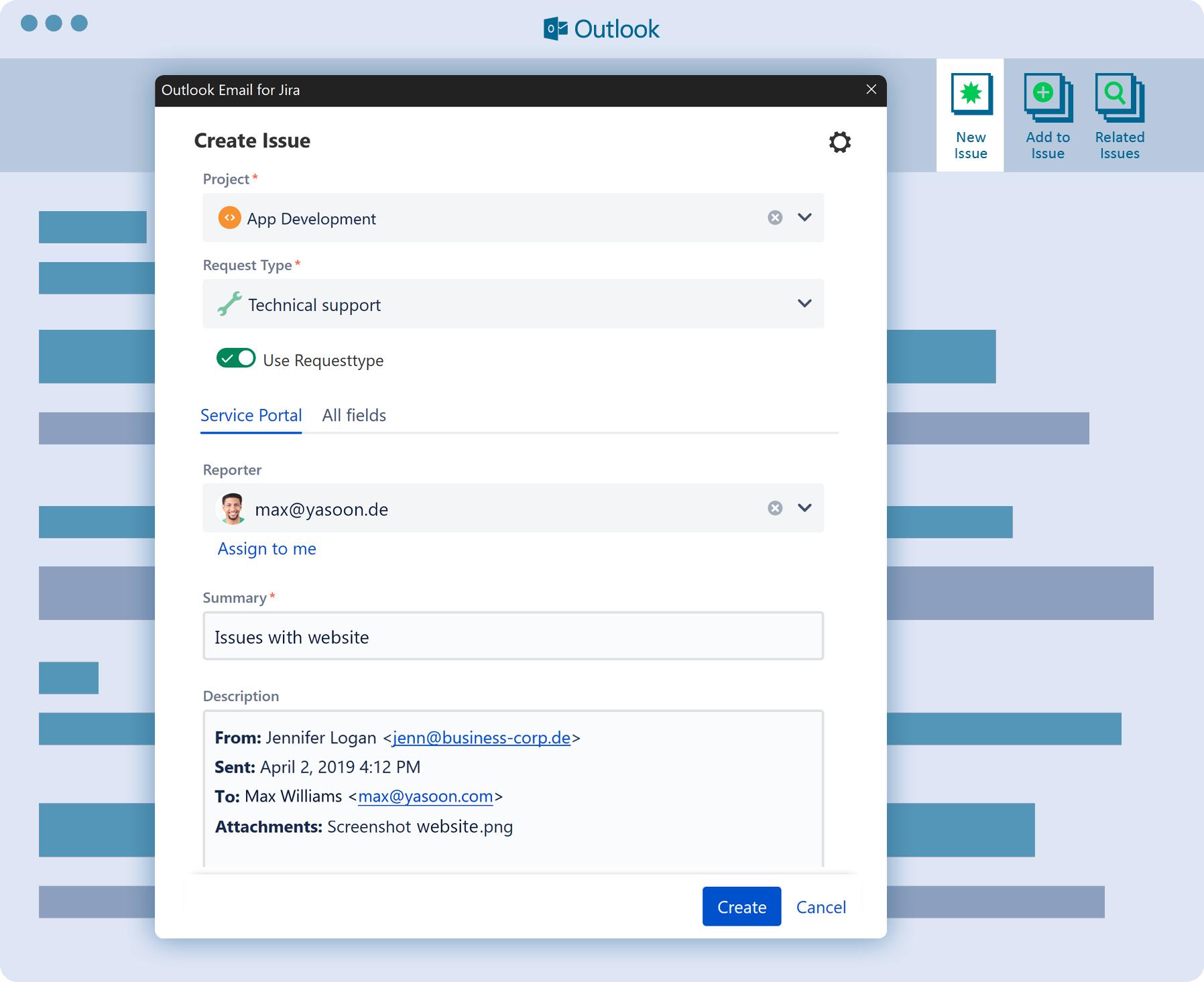 Cómo crear una issue de Jira desde Microsoft Outlook