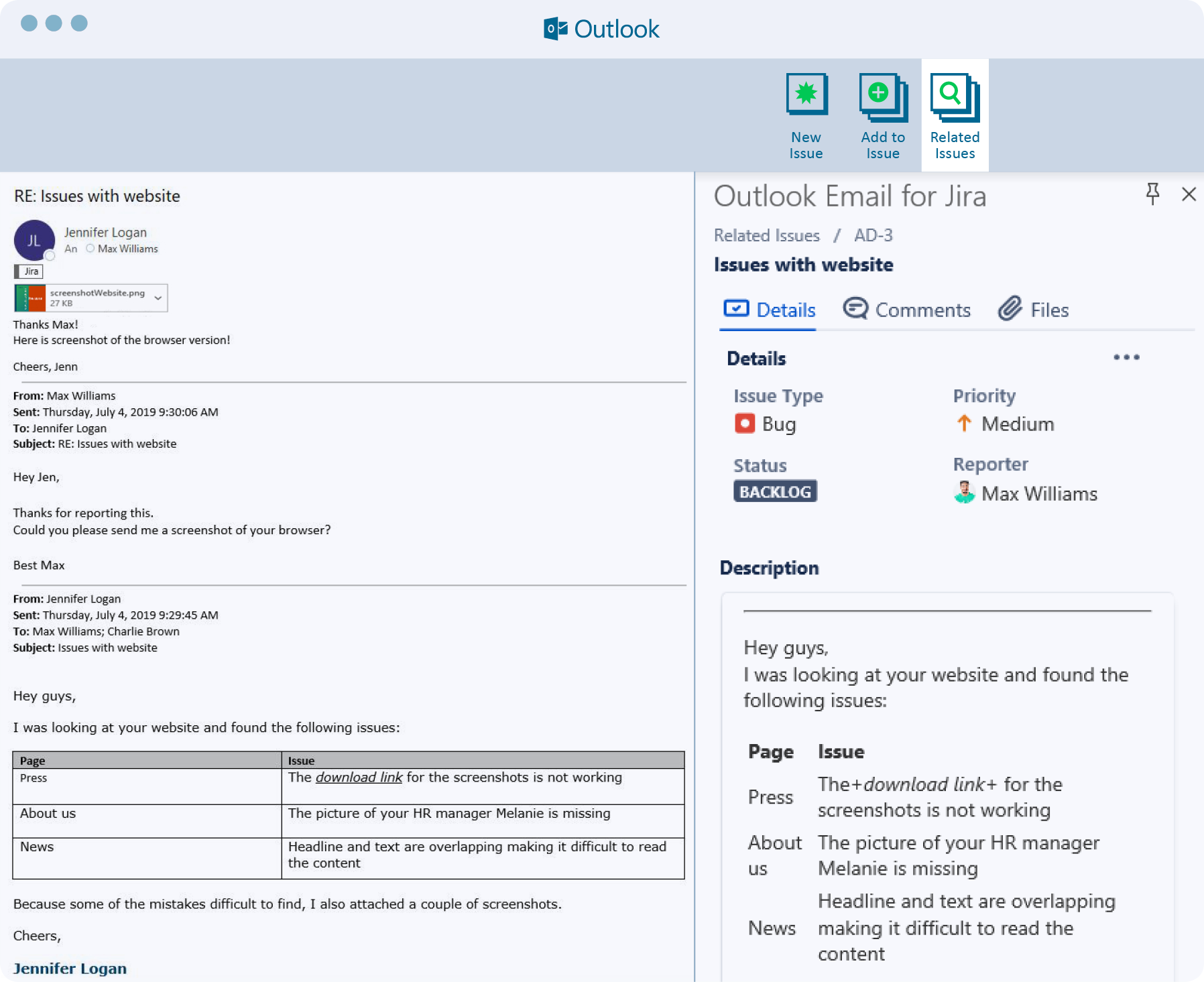 Outlook email for Jira, Atlassian Marketplace app