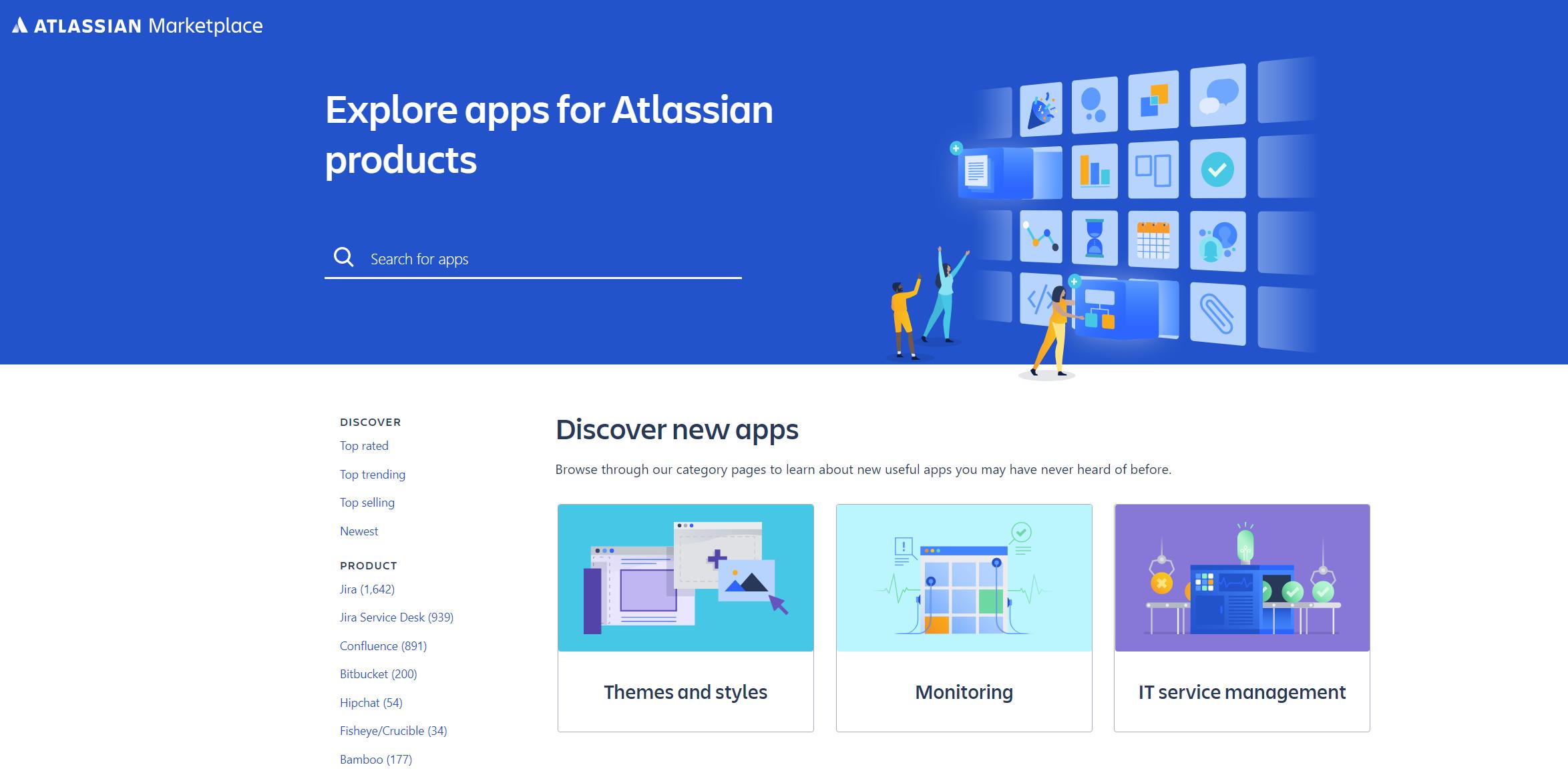 Página de inicio del Marketplace de Atlassian